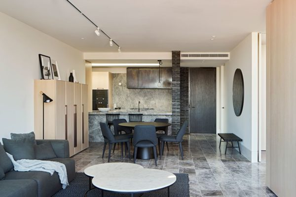 Elwood House's living, dining and kitchen area, complete with Gaggenau appliances