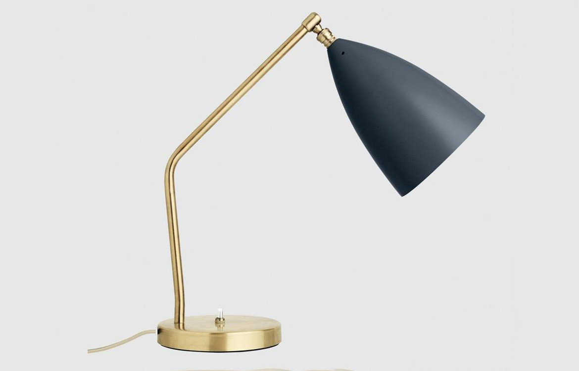 Grasshopper Lamp Gold and Navy