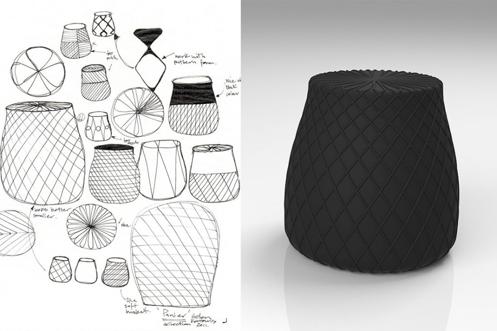 Left: Sketches and development of the Panier stool. Right: A render of the final product.