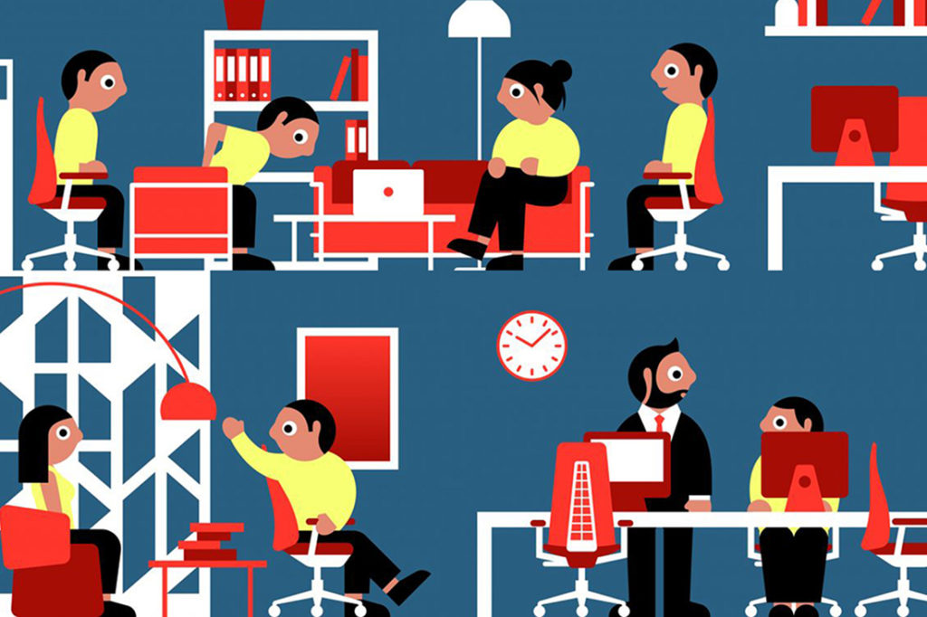Illustration by Stephen Cheetham for Haworth white paper: 'Active Ergonomics For The Emerging Workplace'