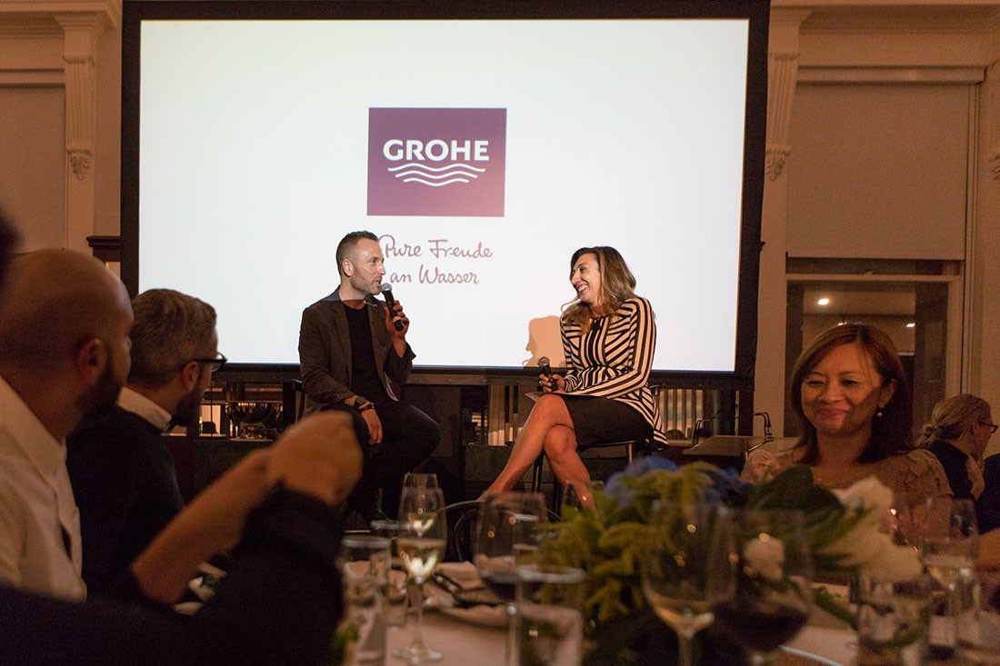 Celebrating Grohe with German VP of design Michael Seum