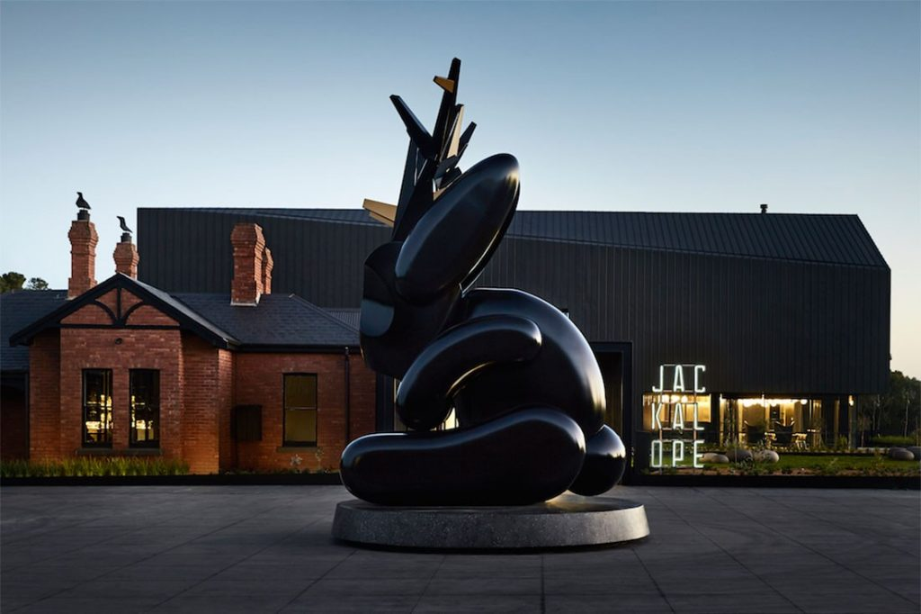 The Jackalope sculpture by Emily Floyd makes a statement at the Jackalope Hotel.