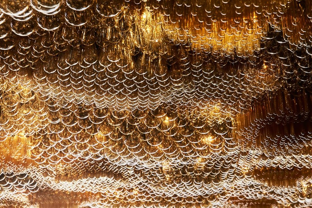A detail of the spectacular lighting installation in the hotel restaurant Doot Doot Doot, designed by Carr with Fabio Ongarato Design.