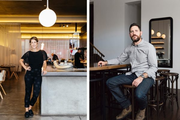 (L-R) Kate Christensen, sommelier at Hobart's Franklin and Andrew Joy, front of house at Carlton Wine Room.