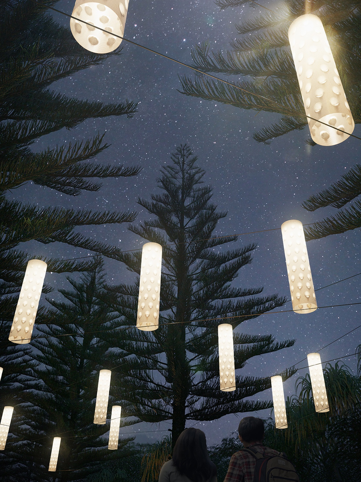 15 illuminated sculptures, inspired by Country, hang among Norfolk Pines.