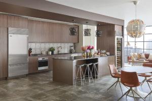 Over and Under Refrigerator Modern Residential Kitchen Interior