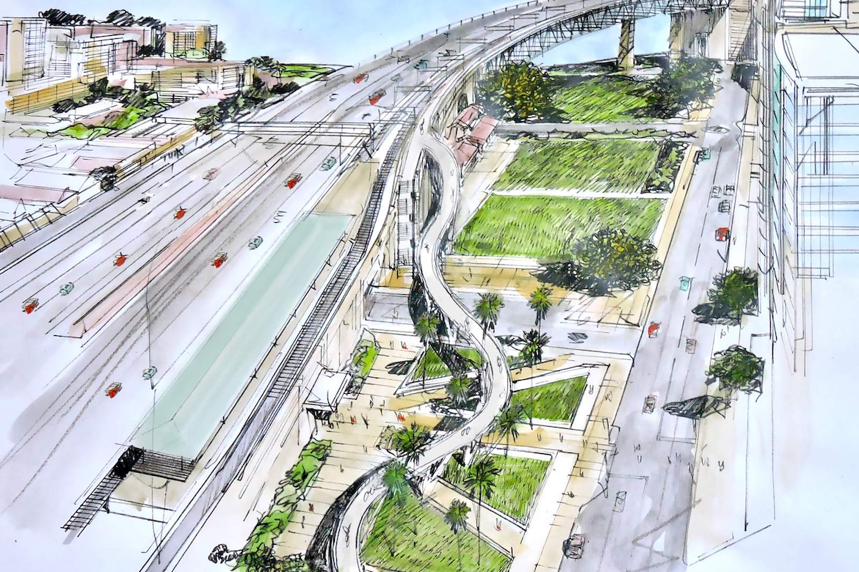 Artist's impression of the linear bike ramp proposal.