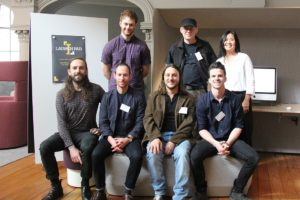 Launch Pad 2018 live judging: Finalists and entrants (Back row L-R): Max Leishman, Mac Nordman, Jeanie Mulligan. (Front row L-R): Isaac Francis, Dan Layden, Roberto Vessella, Tom Hewitt.