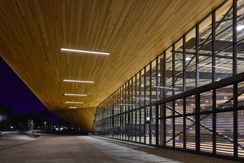 La Trobe University Sports Park exterior at night