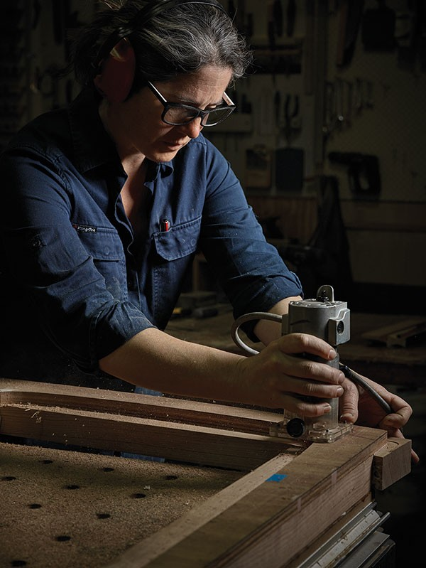 Laura McCusker in her workshop, photographed by Angus Lee Forbes.