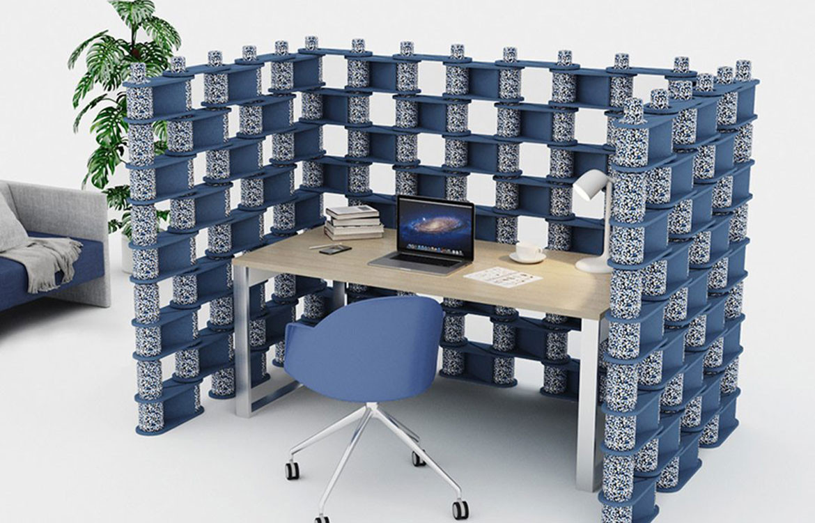 Luxxbox Brix Blue Privacy Wall Office