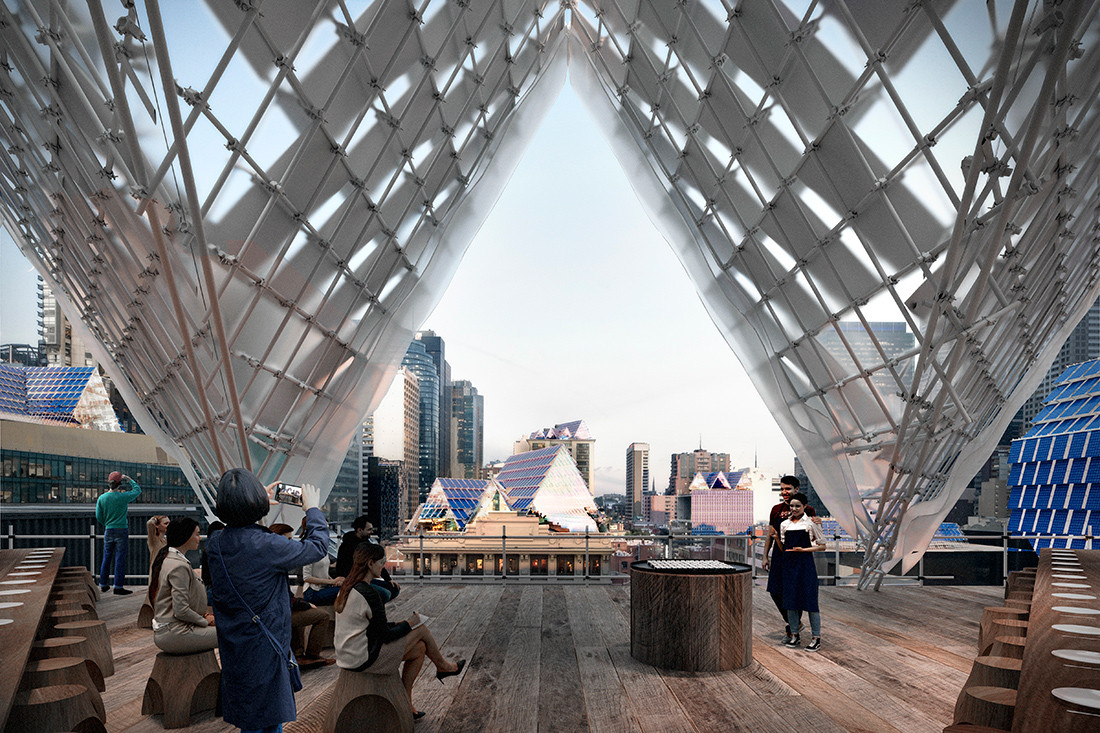 Render of the Solar Pavilion by John Wardle Architects in collaboration with Ash Keating Studio & Openwork Studio.