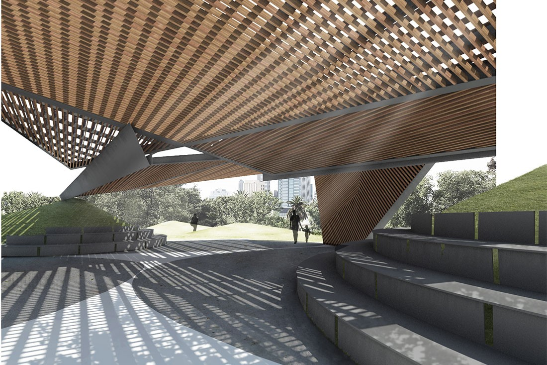 Proposed design for the 2018 MPavilion features dappled shade through the latticework.