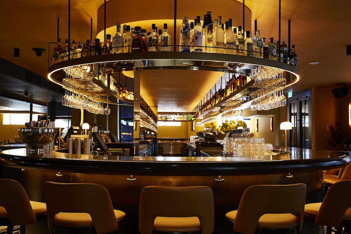 The end of the curved bar in Menzies Bar, Shell House Sydney