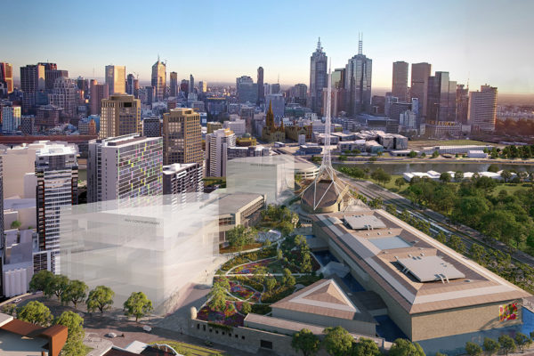 Artists impression of the envisioned NGV Contemporary and wider Melbourne Arts Precinct Transformation, courtesy of HASSELL + SO-IL