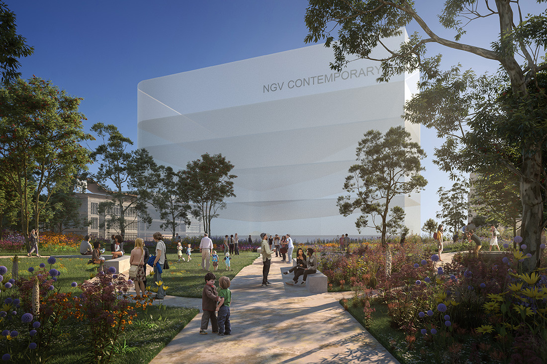 Artists impression of envisioned new NGV Contemporary building, courtesy of HASSELL + SO-IL