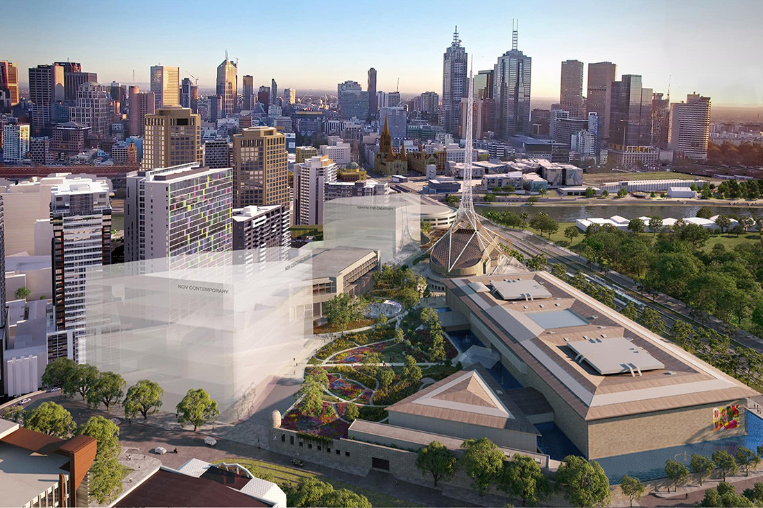 A bird's eye view of the Melbourne Arts Precinct from Southbank Boulevard facing north (artist impression). HASSELL + SO – IL