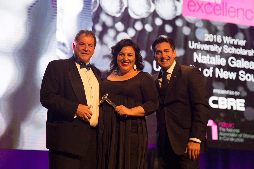 (L-R) Ian Rae, Managing Director – Pacific Region Project Management; Researcher Natalie Galea and NAWIC Awards host Jamie Durie.