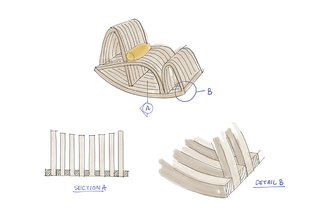 Nostalgia for travel and social interaction guided designer Nong Chotipatoomwan to conceive Thought Bubble, a rocking chair offering a mix of relaxation and repetitive movement to enhance mindfulness.