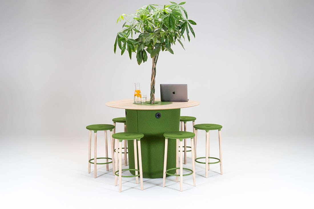 On Point table, with Move On stools