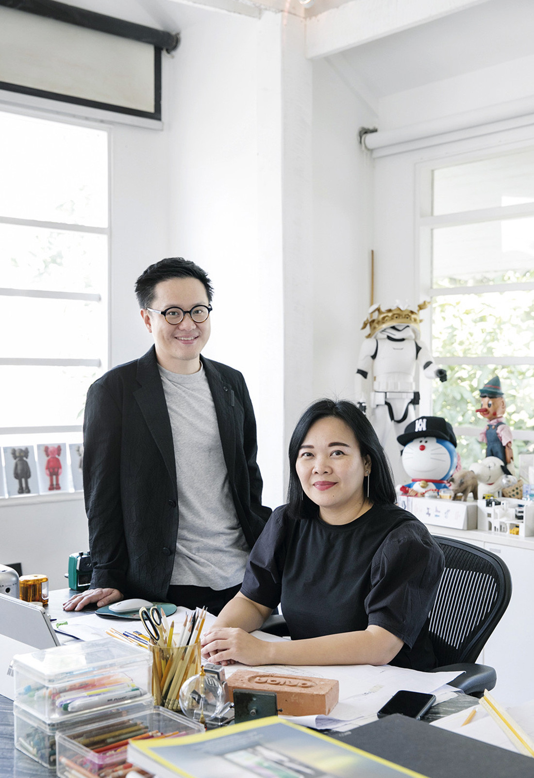 Siriyot Chaiamnuay and Arisara Chaktranon in the Onion studio. Their work spans from hospitality and commercial projects to residential, art installations and products. Photo by Adit Sombunsa.