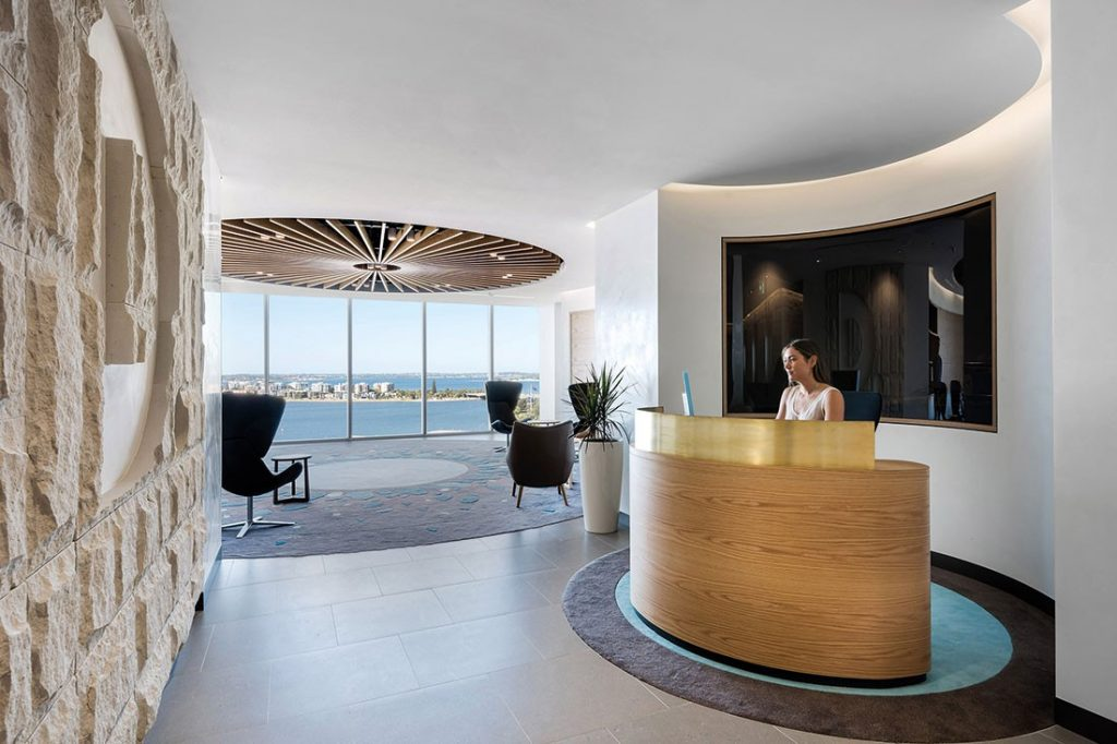 Organic forms and rounded corners feature prominently at Deloitte Perth by Geyer.