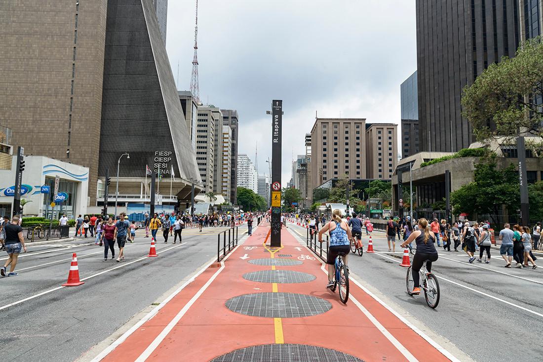Paulista Avenue, Sao Paulo, Sao Paulo, Brazil. The main street is closed to traffic every Sunday afternoon for people to use.