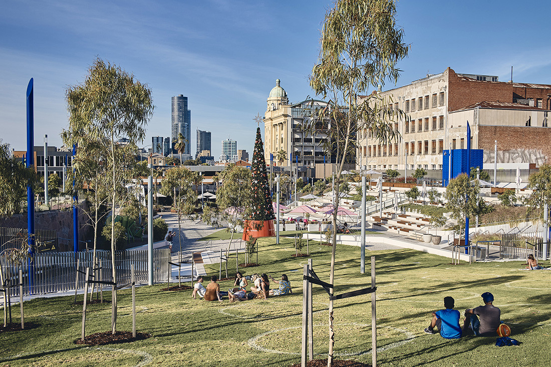 An exemplar of space designed for passive activity, Prahran Square by Lyons is shortlisted in three categories: The Melbourne Prize, Public Architecture, and Urban Design. Photo by Peter Bennetts.