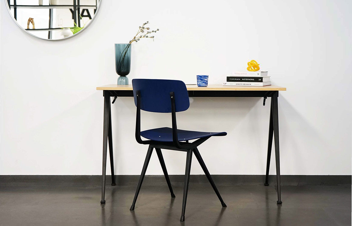 Pyramid Desk with Black Chair