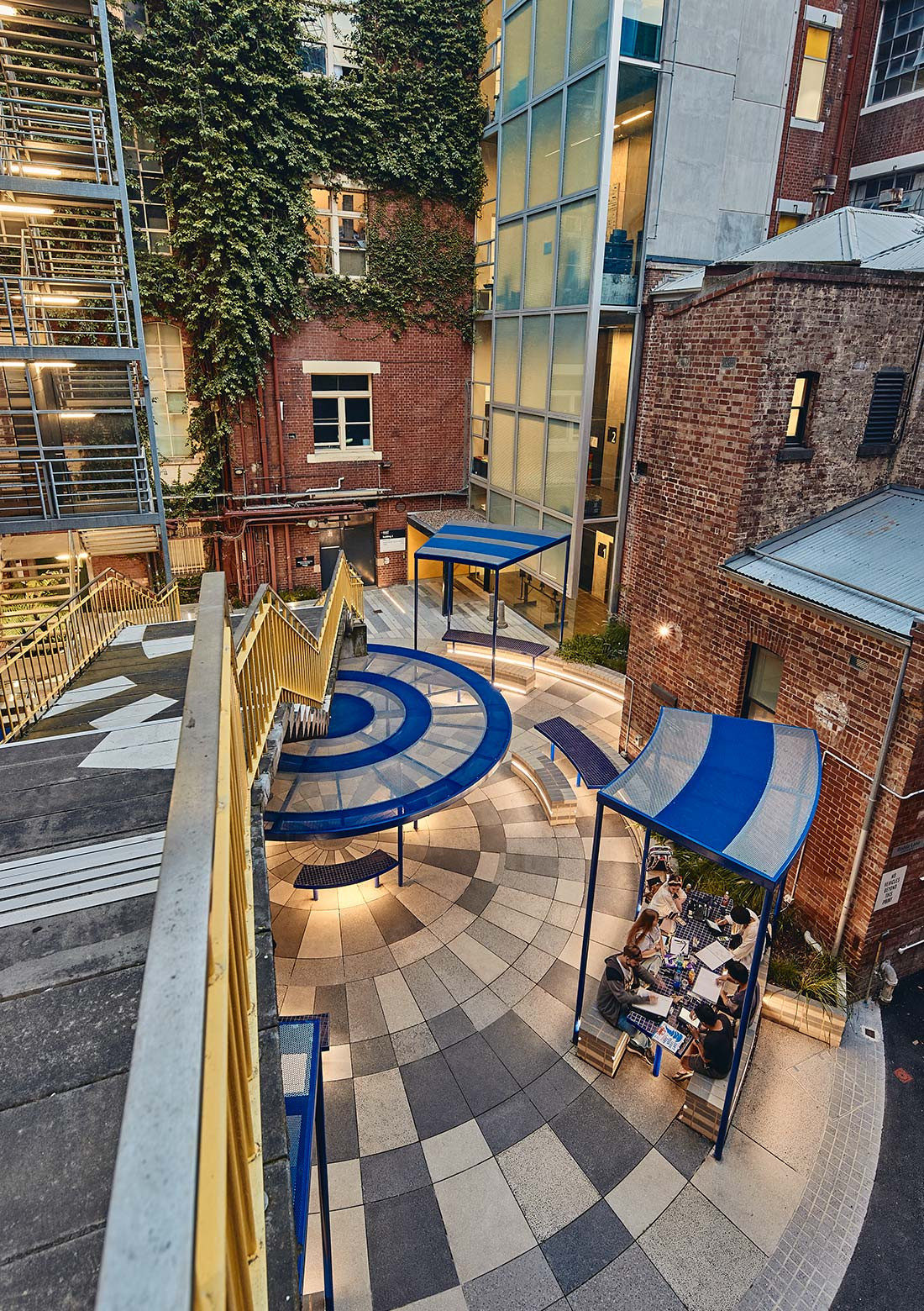 RMIT New City Laneways in Melbourne, by Sibling Architecture, bring meetings, informal class time, and collaborative opportunities into the university's interconnecting laneways. Photo: Peter Bennetts