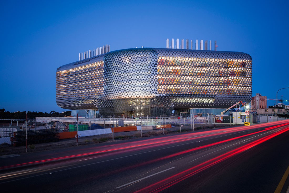 SAHMRI and its interesting façade by Woods Bagot. Photo by David Sievers.