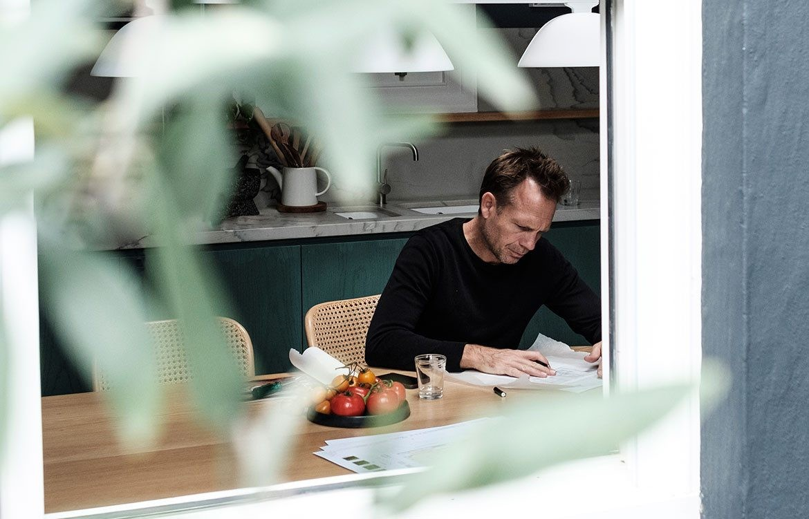 Jonathan Richards in his Darlinghurst Residence, as featured in Habitus magazine. Photo by Felix Forest.