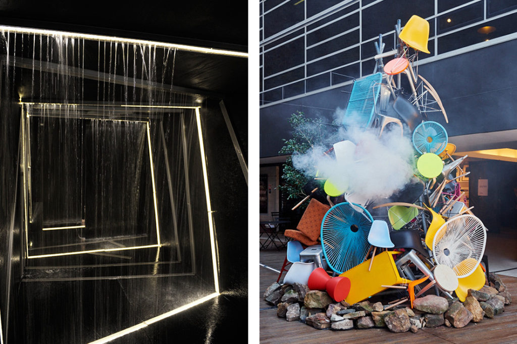 Stormtech x HDR (formerly Rice Daubney) collaboration at SID 2013. And The tower of burning replicas, or Hill St Bonfire, 2015 by Toko with Arthur G, Euroluce, Workshopped and Luxmy Furniture at Saturday Indesign 2015.