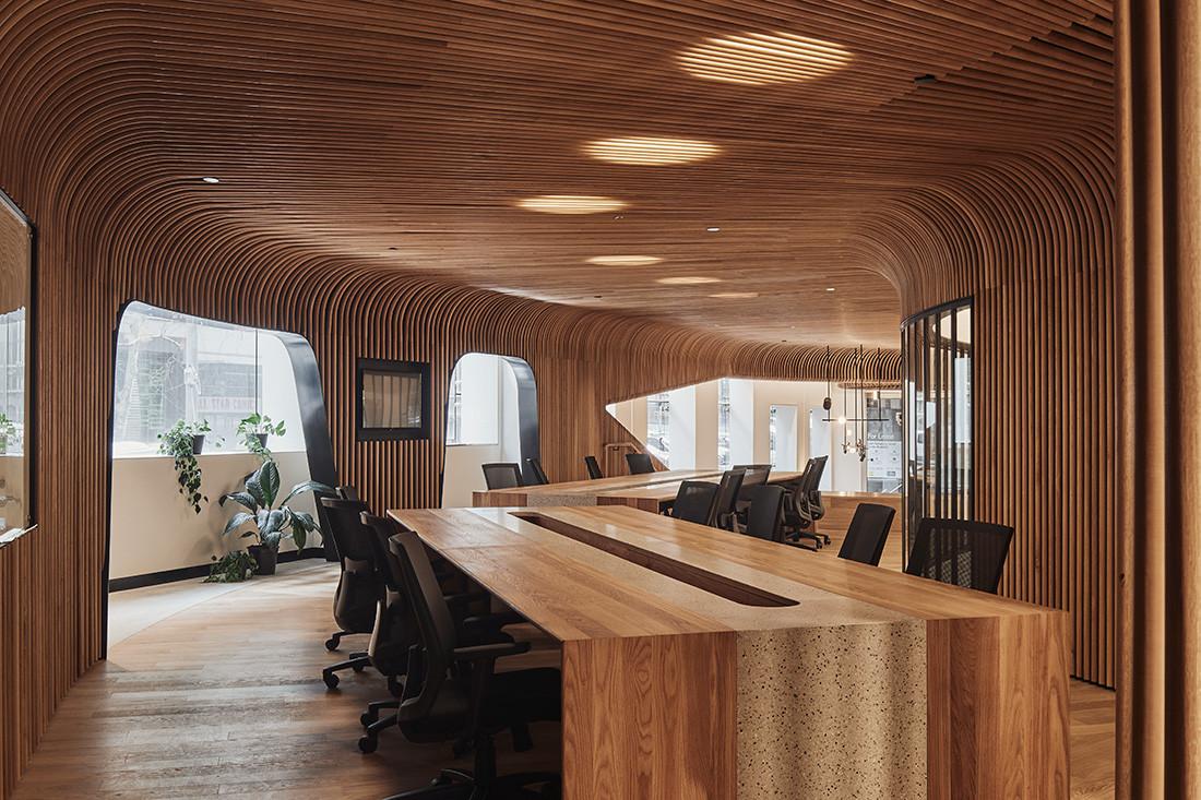 timber clad Sculptform showroom by Woods Bagot