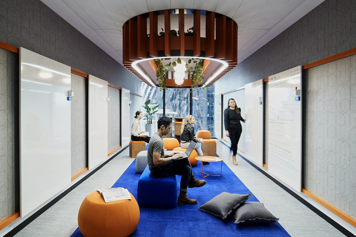Work spaces in IDP Education's Melbourne office