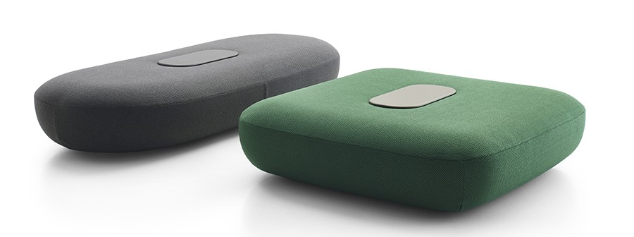 Tabour by B-B Italia features soft edges, reminiscent of a tablet shape.