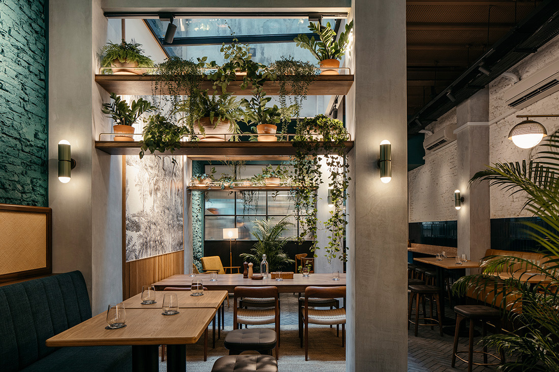 This tropical take on a French bistro has an industrial edge