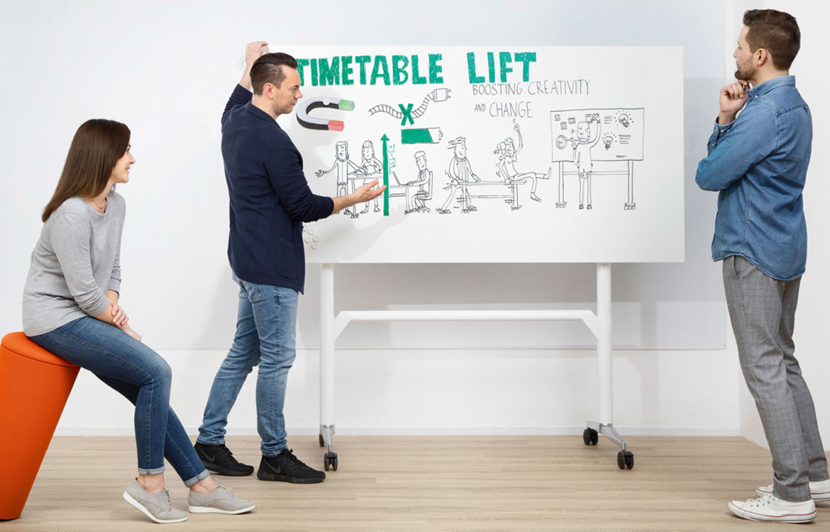 Designing for improved workplace collaboration with Wilkhahn's mobile Timetable Lift