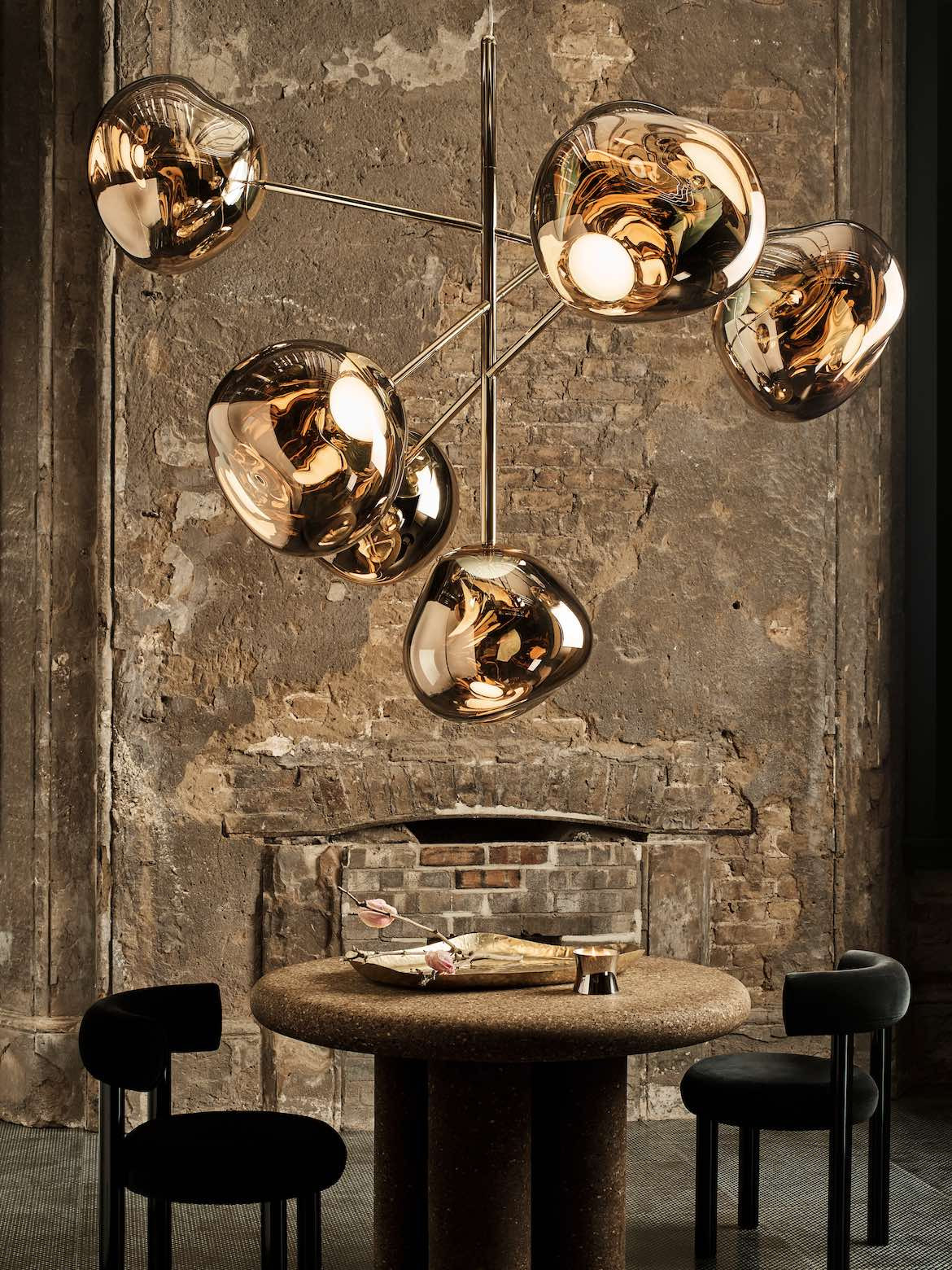 Tom Dixon and Prolicht gold light at Milan Design Week.