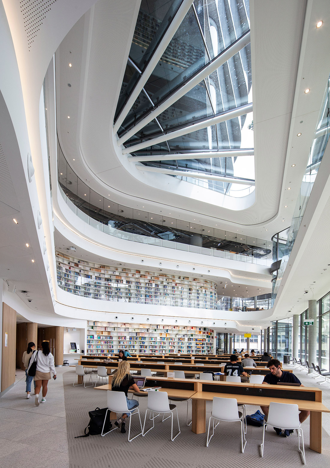 The reading room of the library at UTS Central, by FJMT, is expansive and filled with light. Photo by John Gollings.