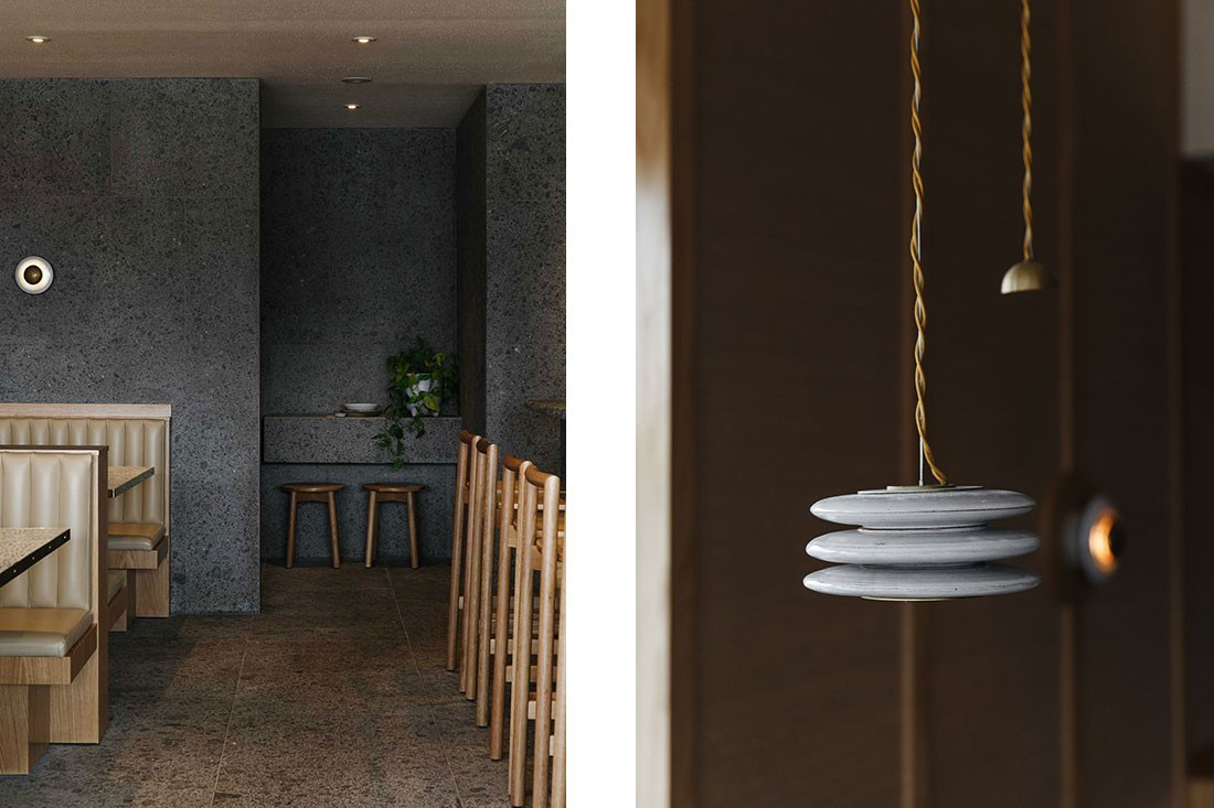 The lighting was commissioned to ceramicist Damon Moon and metalsmith Christian Hall, who created custom pendant lights and wall sconces.