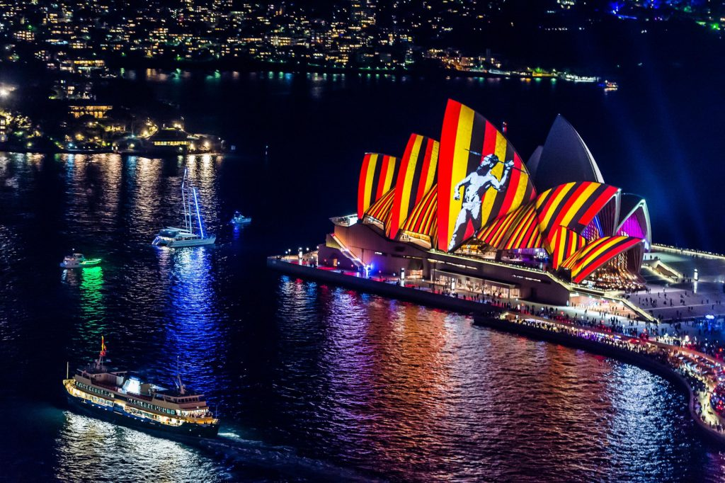 Sydney Opera House at Vivid Sydney 2016, with artwork by Reko Rennie.