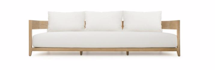 The Balmain 3 Seat Sofa - on display at FRONT - breaks away from traditional square lines and combines a fluid design with organic materials.
