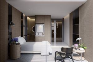 Render of Cabrini Hospital patient room.