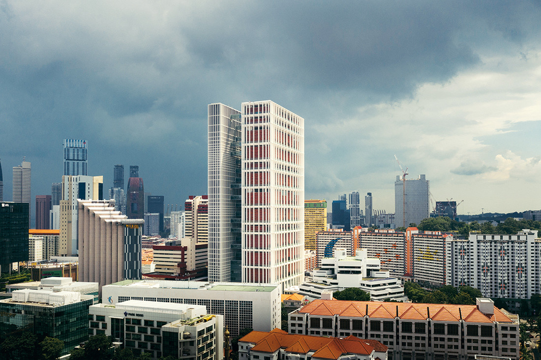 The Singapore State Courts is a light and porous alternative to its usually heavy and solid counterparts without compromising on the complex and highly specific circulation requirements of court buildings. Photo by Finbarr Fallon. Pages 80–81 Serie Architects' proposed a carbon-neutral tower in Singapore for a major energy company. The core and structural frame of each stacked pavilion is made from steel while intermediate floors are constructed from a hybrid of steel and timber. Image: Serie Architects.
