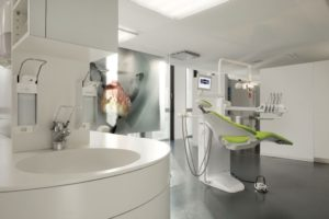 Fully integrated Staron sink and benchtop in a dental surgery.