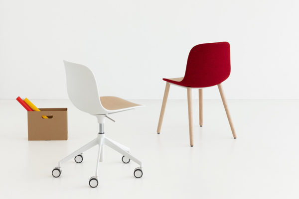 SEELA chair by lapalma fuses plastic and upholstery