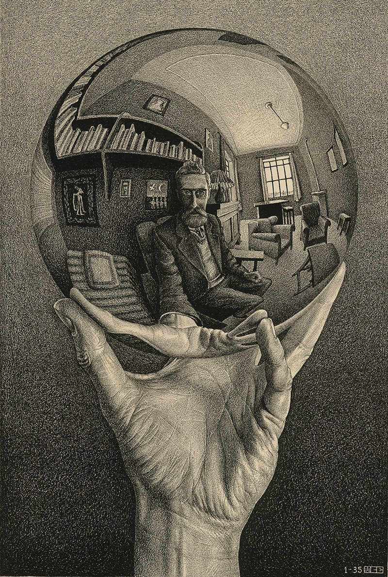 M. C. Escher Hand with reflecting sphere (Self-portrait in spherical mirror) January 1935 lithograph Escher Collection, Gemeentemuseum Den Haag, The Hague, the Netherlands © The M. C. Escher Company, the Netherlands. All rights reserved.