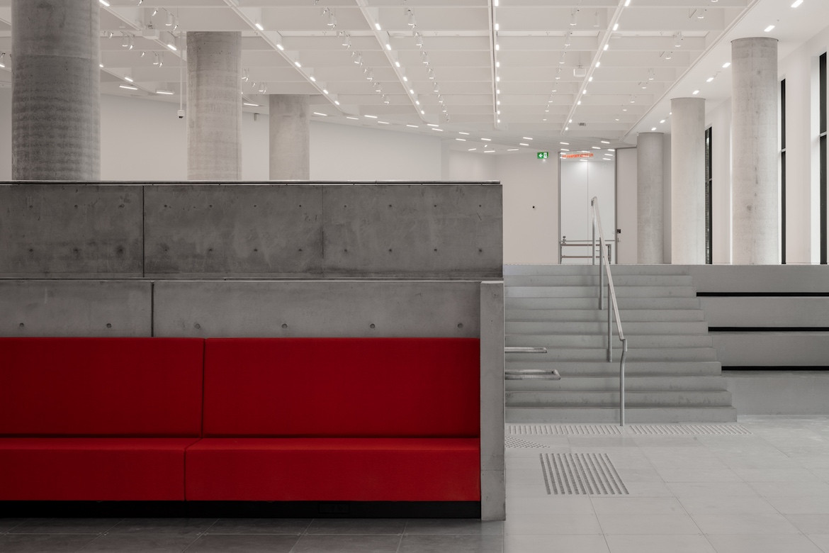 Science Gallery Melbourne red interior seating by Smart Design Studio.