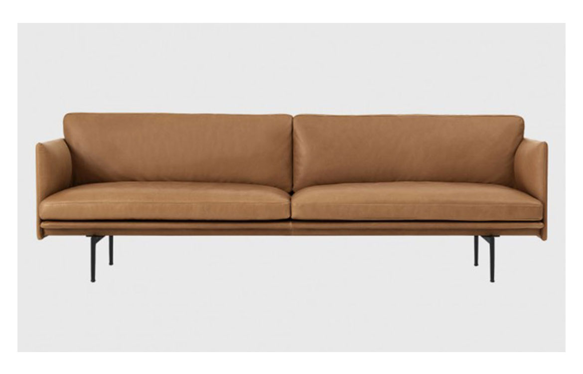 outline 3 seater sofa in cognac leather living edge indesign live. Black Bedroom Furniture Sets. Home Design Ideas